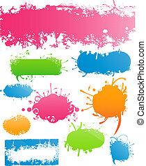 barwny, rozmaitość, nowoczesny, grungy, kwiatowy, chorągwie