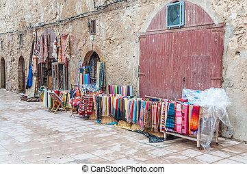 barwny, safian, sprzedaż, medyna, orientalny, afryka, essaouira, tekstylia, dywany
