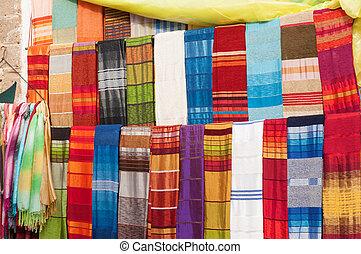 barwny, safian, sprzedaż, medyna, orientalny, afryka, essaouira, tekstylia
