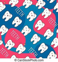 barwny, seamless, wektor, pattern., illustration., zęby