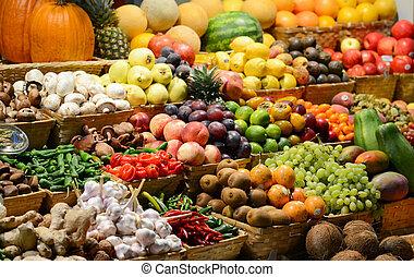 barwny, seria, warzywa, -, owoc, różny, owoce, świeży, targ