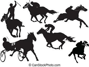 barwny, silhouettes., koń biegi