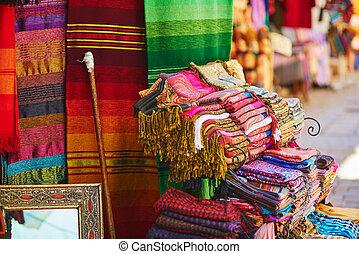 barwny, sprzedaż, medyna, ulica, tekstylia, dywany