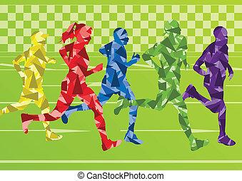 barwny, sylwetka, wektor, biegacze, tło, maraton
