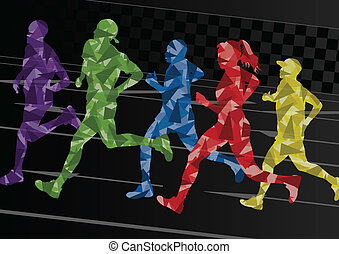 barwny, sylwetka, wektor, maratończycy, mozaika