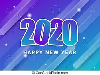 barwny, szczęśliwy, nowy, tło, rok, 2020
