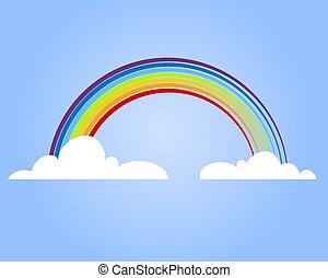 barwny, tęcza, z, chmura, wektor, illustration.
