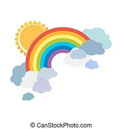 barwny, tęcze, z, chmury, i, sun., rysunek, ilustracja, odizolowany, na białym, tło., wektor