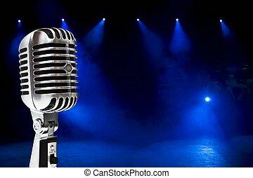 barwny, tło, mikrofon