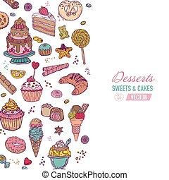 barwny, tło, -, z, ciasto, słodycze, i, desery, -, ręka, pociągnięty, w, wektor