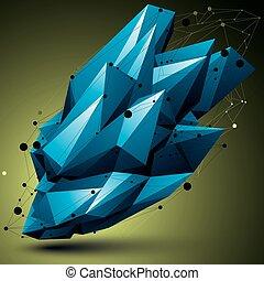 barwny, techniczny, wireframe, object., formułować, polygonal, jasny, przestrzenny