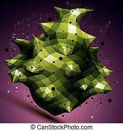 barwny, techniczny, wireframe, object., formułować, polygonal, zielony, przestrzenny
