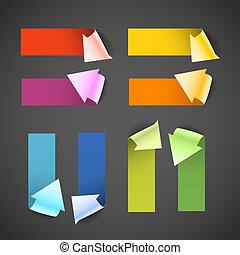 barwny, tekst, tutaj, banners., papier, miejsce, strzała, ...