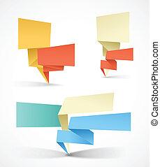 barwny, tekst, tutaj, polygonal, banners., miejsce, origami,...