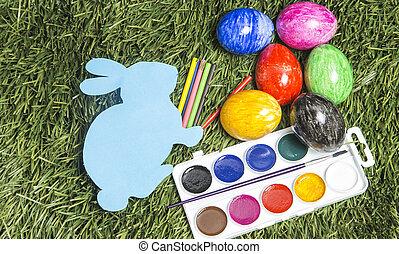 barwny, to jest, jaja, markiery, ręka, grass., królik, karta