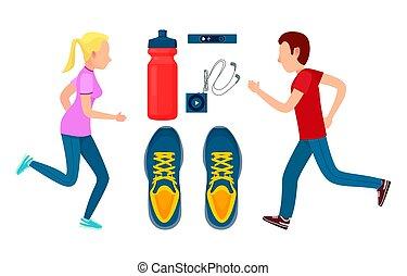 barwny, trening, dwa, wyścigi, sportsmans, chorągiew
