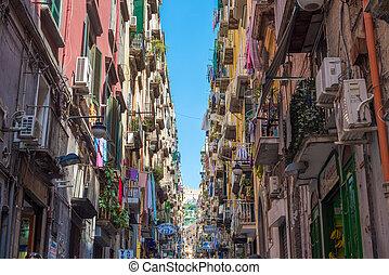 barwny, ulice, od, neapol, włochy