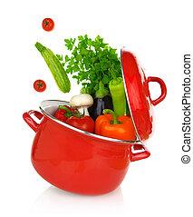 barwny, warzywa, gotowanie, nadchodzący, garnek, czerwony