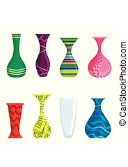 barwny, wazony, wektor, komplet, odizolowany, na białym, tło., nowoczesny, wazony, dla, flowers., wektor, ilustracja
