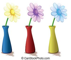 barwny, wazony, z, kwiaty