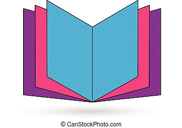barwny, wektor, logo, otwarta książka, ikona