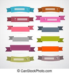 barwny, wstążki, retro, komplet, etykiety