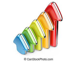 barwny, wstępujący wzrost, strzały, 3d