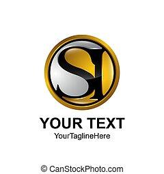 barwny, złoty, handlowy, towarzystwo, początkowy, si, projektować, litera, logo, czarne koło, identyczność, szablon