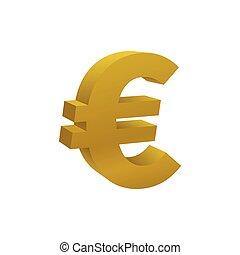 barwny, złoty, symbol, waluta, euro, ikona