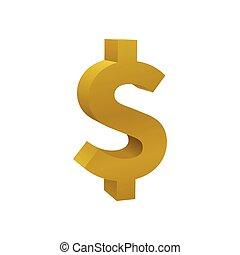 barwny, złoty, znak, dolar, waluta, ikona