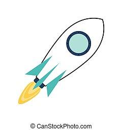 barwny, zabawkarska rakieta, ikona