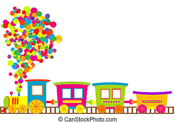 barwny, zabawkarski pociąg