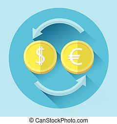 barwny, zamiana, pieniądze, dolar, euro, pieniądz, ikona
