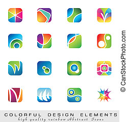barwny, zbiór, od, zaprojektujcie elementy