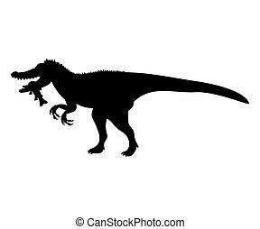 Baryonyx silhouette dinosaur jurassic prehistoric animal. Vector illustration