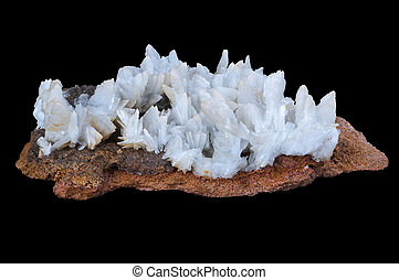 baryte stone in a black isolated background