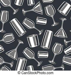 barzinhos, álcool, padrão, seamless, glasses., glassware, tipos