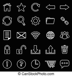 barzinhos, ícones, ferramenta, experiência preta, linha