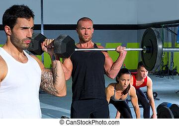 barzinhos, ajustar, peso, ginásio, crucifixos, grupo, malhação, levantamento