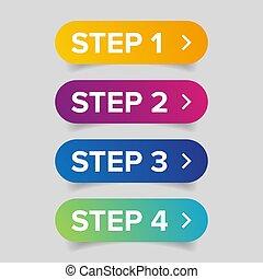 barzinhos, botão, três, dois, quatro, progresso, um