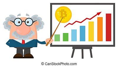 barzinhos, discutir, professor, personagem, bitcoin, ou, cientista, crescimento, gráfico, ponteiro, caricatura