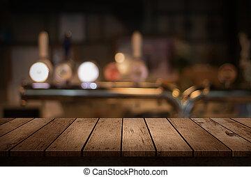 barzinhos, madeira, bebidas, obscurecido, tabela, fundo, vista