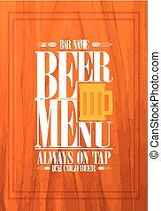 barzinhos, menu, cerveja, desenho