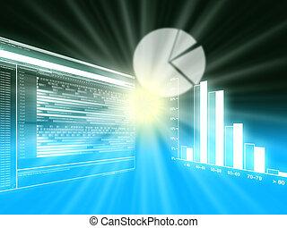 barzinhos, negócio, gráficos, torta, vendas, gráficos, desempenho, linha, mostrando