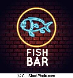 barzinhos, peixe, luzes néon