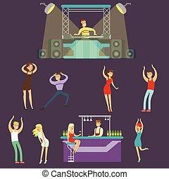 barzinhos, pessoas, clube, dançar, jovem, ilustração, caricatura, vetorial, música, noturna, dj, bebendo, tocando, feliz