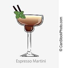 basé, alcool, express, deux, cocktail., cocktail, martini, pailles, feuille, menthe, vodka, brun, digestif.