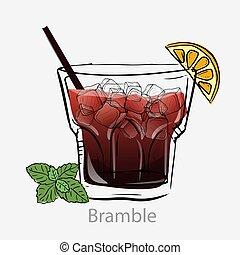 basé, gin, sucre, tout, alcool, cocktail, citron, syrup., ronce, jus, jour, alcoolique, cocktail., mûres