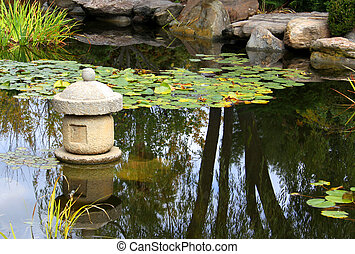 basé, jardin, water-viewing, -, japonaise, eau, s\'ensui, shin