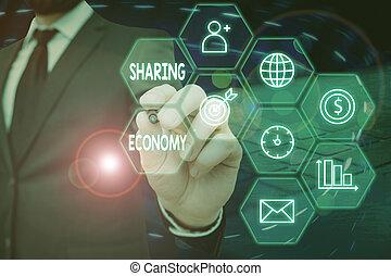 basé, pair, texte, consommation, partage, sharing., economy...
